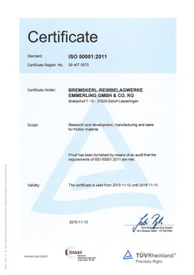 Certificate Energy policy 500001 eng
